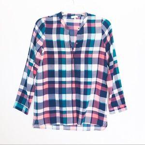 Joie 100% Silk Plaid Blouse Size XS Multi-Colored
